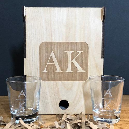 Custom Laser Engraved Wooden Box For Shot Glasses