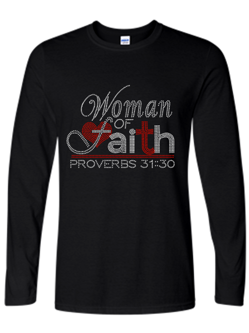 WOMAN OF FAITH BLING LONG SLEEVES