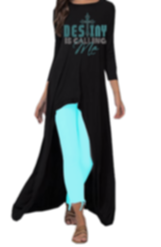 Black tURQUOIRSE long top DESTINY IS CAL