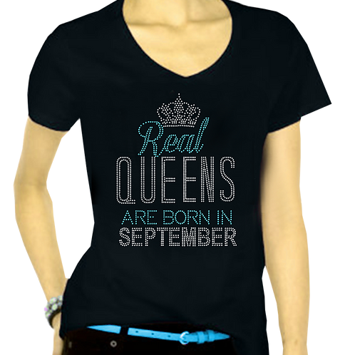 REAL QUEENS ARE BORN BLING TEE