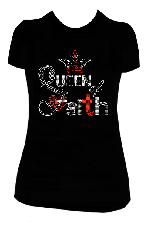 QUEEN OF FAITH BLING TSHIRT