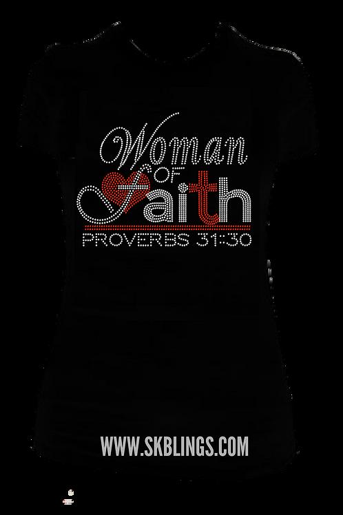 WOMAN OF FAITH BLING TSHIRT