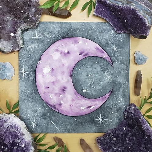 """Amethyst Midnight Moon Watercolor Art 8x8"""""""