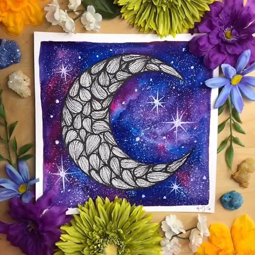 "Signature Nebula B&W Moon Watercolor Art 8x8"""