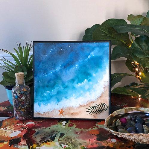 "Blue Tranquil Ocean Beach Watercolor Art 8x8"""