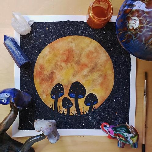 """Mushroom Midnight Moon Watercolor Art 8x8"""""""