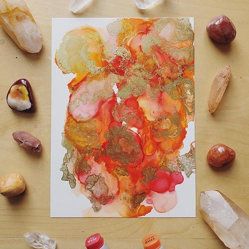 """Red Jasper Fluid Art  5x7"""""""