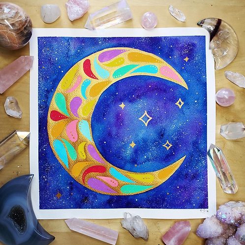 Signature Pastel & Gold Moon Watercolor Art  10x10""