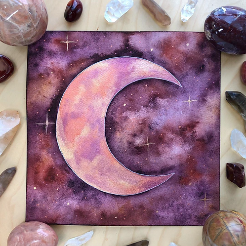 Fading Light Rose Gold Moon Watercolor Art 8x8""