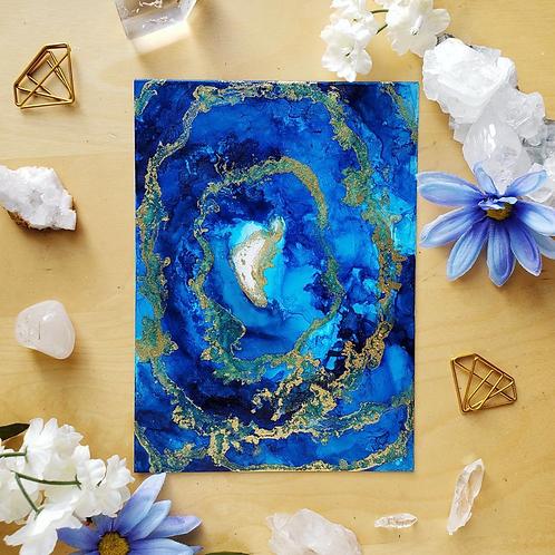 """Lapis Lazuli Fluid Art  5x7"""""""