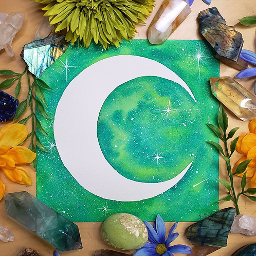 Green & White Crescent Moon Watercolor Art  8x8""