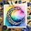"Thumbnail: Signature Rainbow B&W Moon Watercolor Art 8x8"""