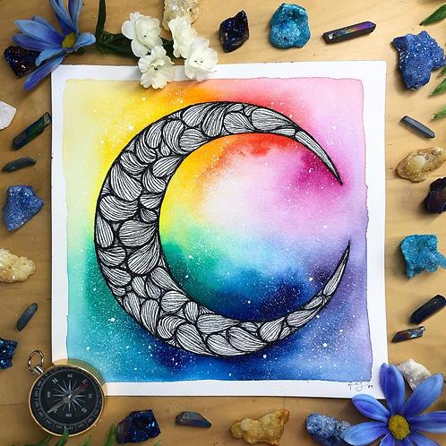 "Signature Rainbow B&W Moon Watercolor Art 8x8"""