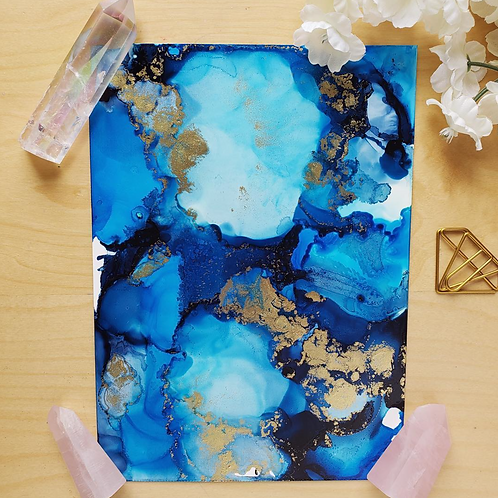 Blue Apatite Fluid Art  5x7""