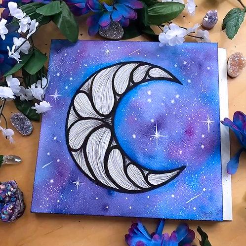 """Signature Indigo Violet B&W Moon Watercolor Art  8x8"""""""
