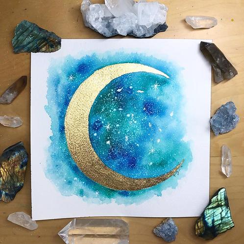 "Gold Ocean Moon Watercolor Art 8x8"""