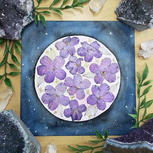 """Violet Pressed Flowers Full Moon Watercolor Art 8x8"""""""