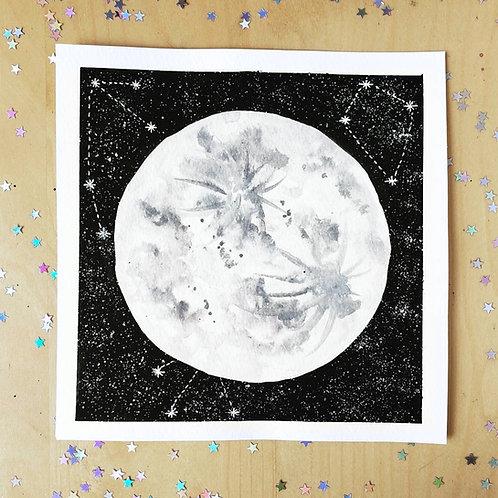 "Celestial Midnight Onyx Moon Watercolor Art 8x8"""