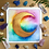 "Thumbnail: Rainbow Gold Moon Watercolor Art 8x8"""