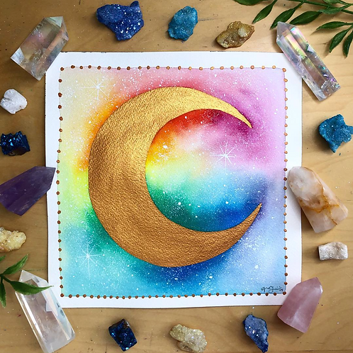 Rainbow Gold Moon Watercolor Art 8x8""