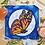 """Thumbnail: Orange Monarch Butterfly Moon Watercolor Art 8x8"""""""