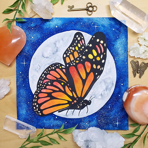 """Orange Monarch Butterfly Moon Watercolor Art 8x8"""""""