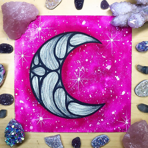 Signature Magenta B&W Moon Watercolor Art  8x8""