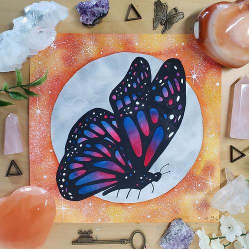"""Pink Monarch Butterfly Moon Watercolor Art 8x8"""""""