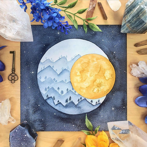 Indigo Mountain Moon Watercolor Art 8x8""