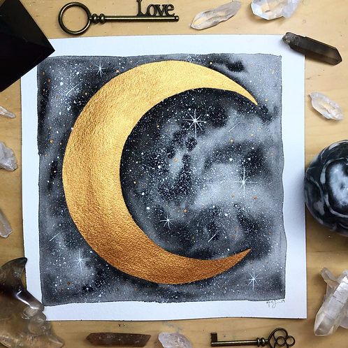 Gold Midnight Moon Watercolor Art 8x8""