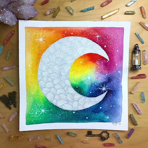 "Signature Silver Rainbow Moon Watercolor Art 8x8"""