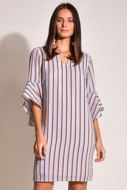 Vestido Curto Crepe Stripes