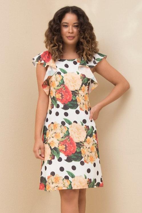 Vestido Crepe Bouquet Flower
