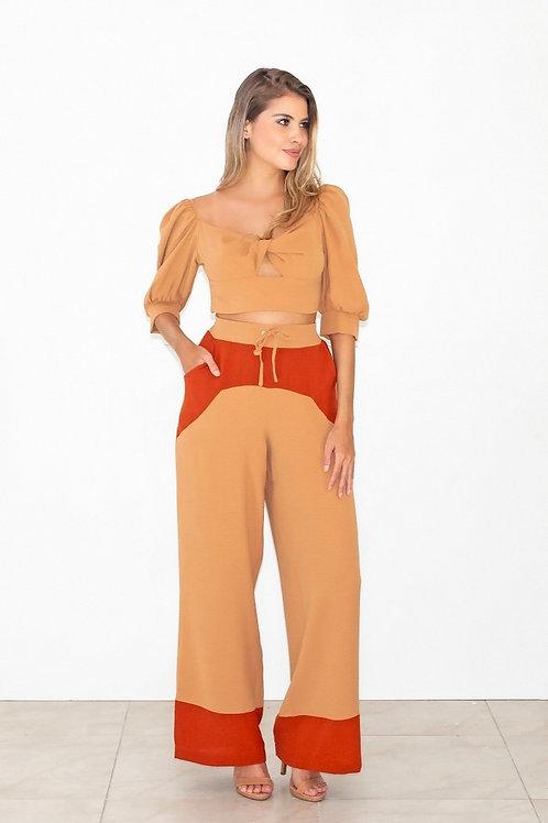Calça Pantalona Crepe Duo Color