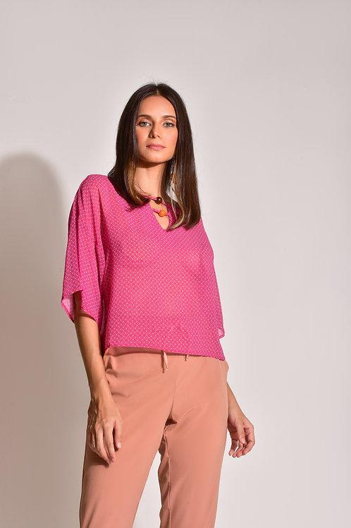 Blusa Crepe Abstrato Pink