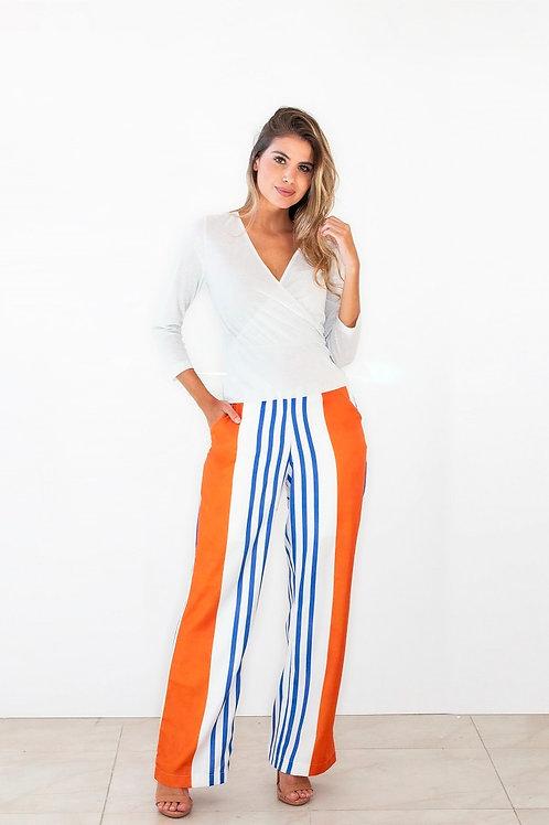 Calça Crepe Pantalona Stripes