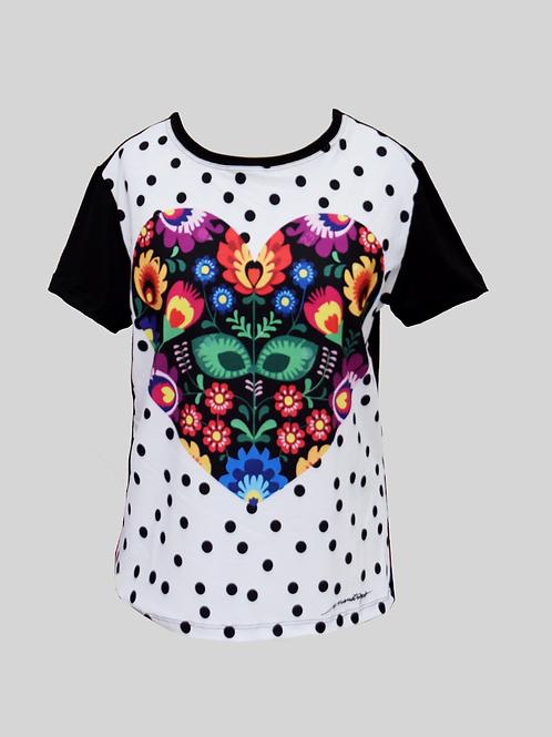 T-shirt Coração Poá P&B
