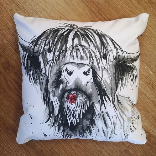 Willie Moo, Cotton Canvas Cushion