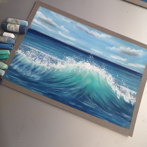 The wave V, Original Pastel Painting