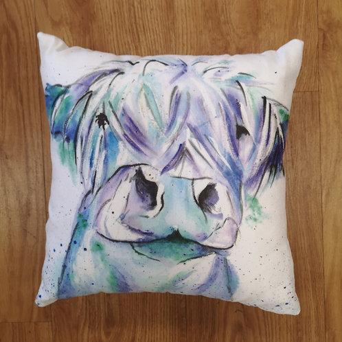 Blue Moo, Cotton Canvas Cushion