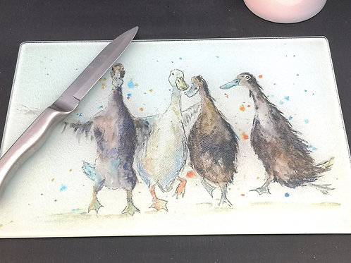 Ducks Glass Placemat Kitchen Table Worktop Saver Protector