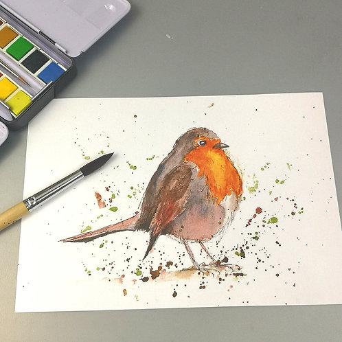 Rosie Robin, watercolour Print