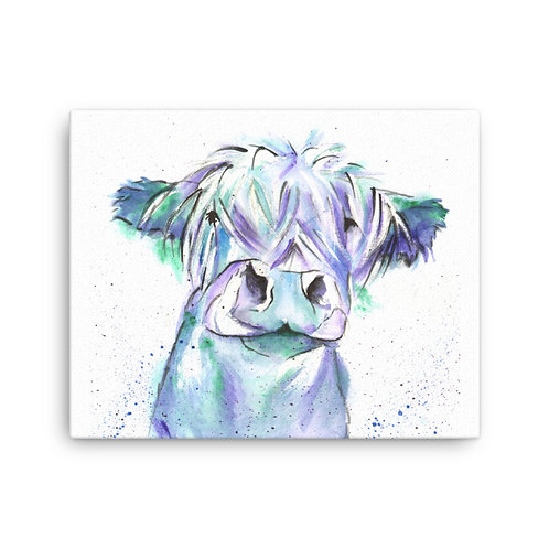 Blue Moo, Cow ,  Canvas Print