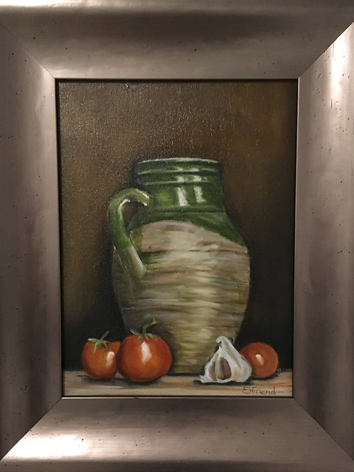 Ready for the Pasta, Original Oil Framed Painting