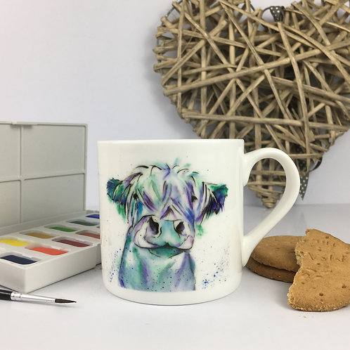 Blue Moo, Bone China Mug