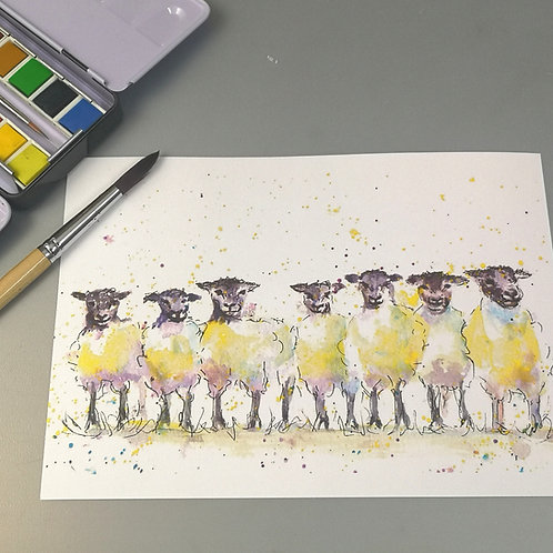 The Flock, watercolour Print