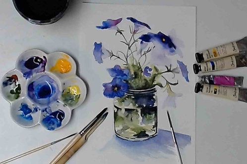 Flower still Life Watercolour Tutorial