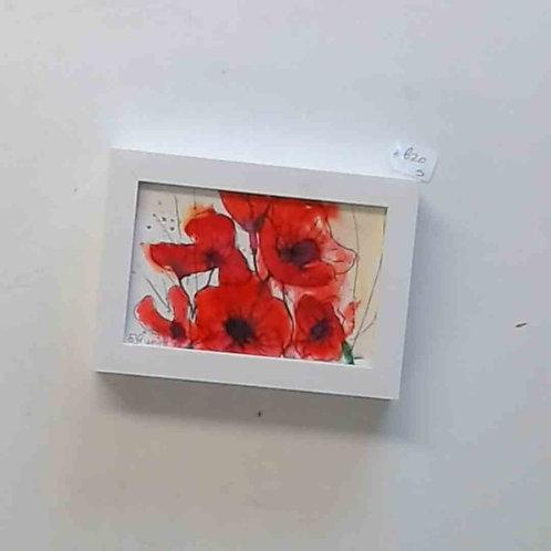 Original Poppy watercolour ink framed