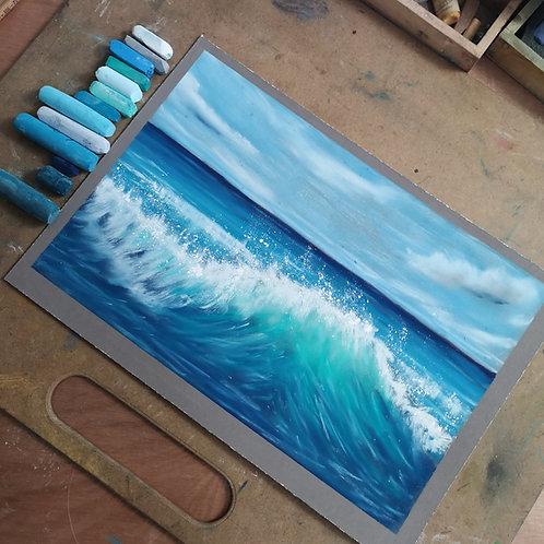 The wave IV, Original Pastel Painting