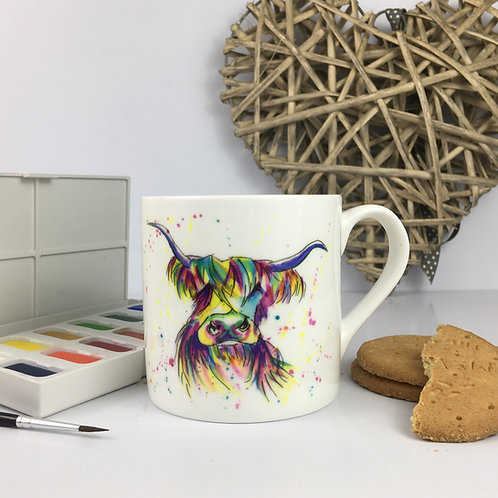 Rainbow Moo, Bone China Mug